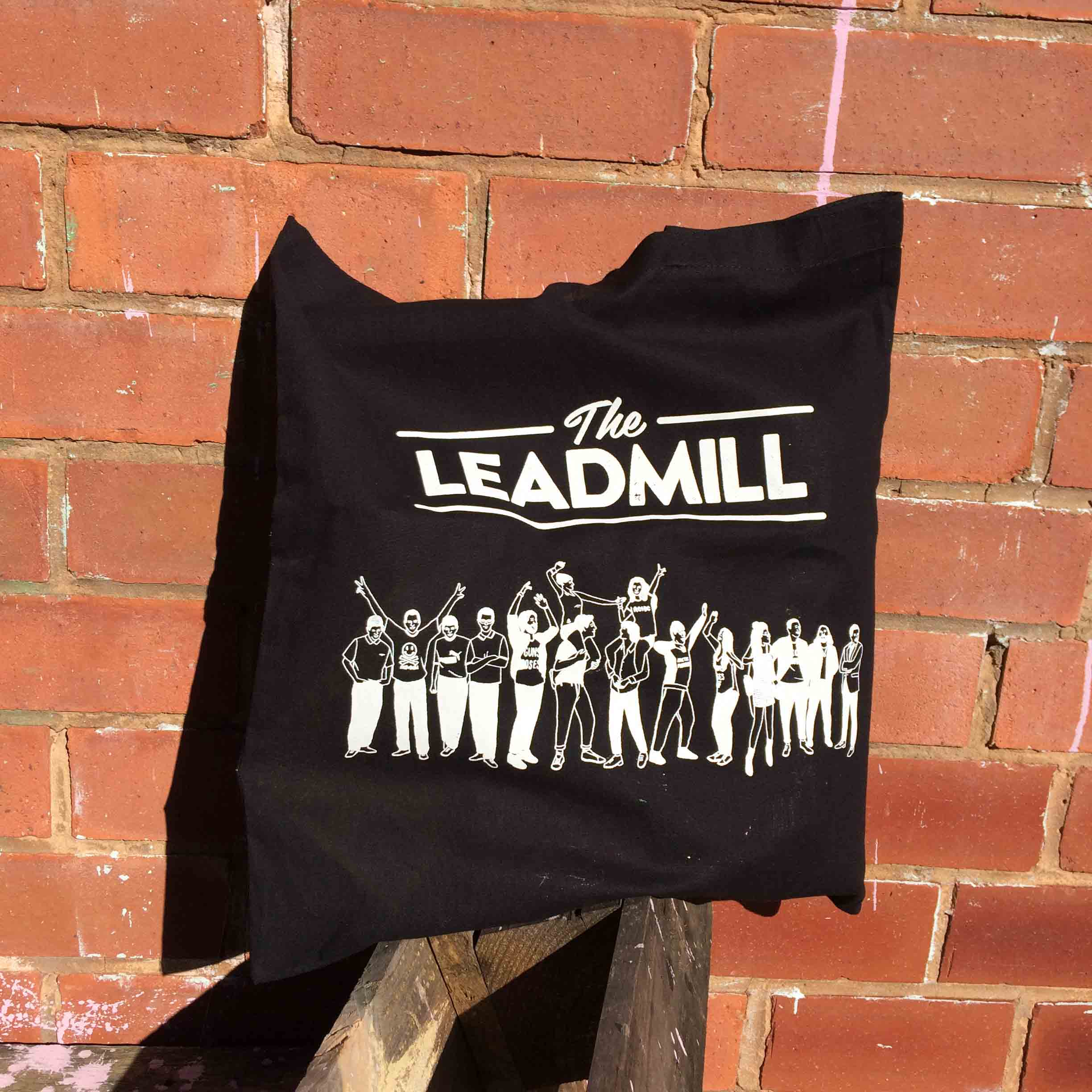 The leadmill tote bag with my design on
